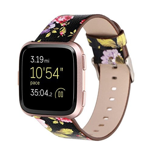YJYdada Fashion Pattern Leather Strap Replacement Watch Band for Fitbit Versa (Black)