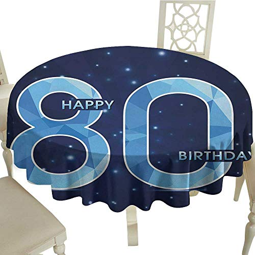 Curioly 80th Birthday Washable Tablecloth Diamond Age 80 Yeras Old Happy Birthday Party Theme with Stars Dinner Picnic Home Decor D55.11 Inch Navy Blue and Sky Blue