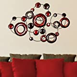 Stratton Home Decor SPC 940 Metallic Circles Wall Decor, Red