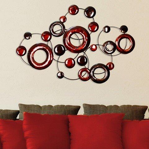 Burgundy Wall Decor - Stratton Home Decor SPC 940 Metallic Circles Wall Decor, Red