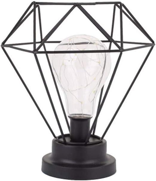 ZSSM Lámpara de Mesa Vintage con asa de Transporte Jaula Industrial de Metal Luz de Escritorio