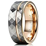 Three Keys Jewelry 8mm Hammered Brushed Silver Tungsten Wedding Ring with Rose Gold Interior & Stripe Wedding Band Engagement Ring Size 14