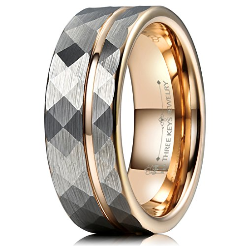 THREE KEYS JEWELRY 8mm Hammered Brushed Silver Tungsten Wedding Ring with Rose Gold Interior & Stripe Wedding Band Engagement Ring Size 15