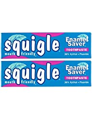 Squigle Enamel Saver Toothpaste (Helps Prevent Canker Sores, Perioral Dermatitis, Bad Breath, Chapped Lips) 2-Pack