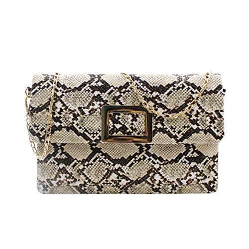 RARITYUS Women Fashion Crossbody Bag Handbag Snakeskin Textured PU Leather Sling Messenger Shoulder Bag with Chain Strap