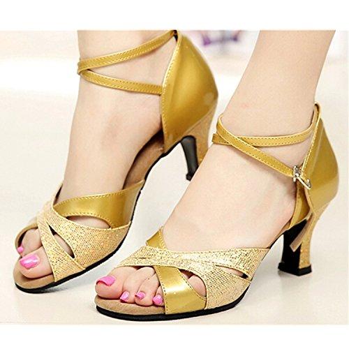 YFF Don Mujeres Zapatos de baile Zapatos de baile de tango danza latina 7.5CM golden