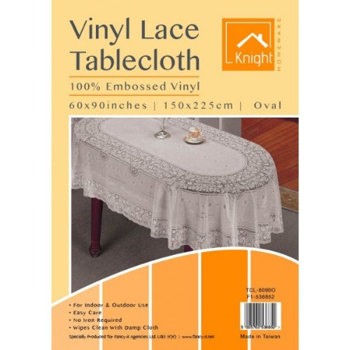 Oval Vinyl Lace Tablecloth 100% Embossed Vinyl 60 x 90 inch (150 x 225cm)