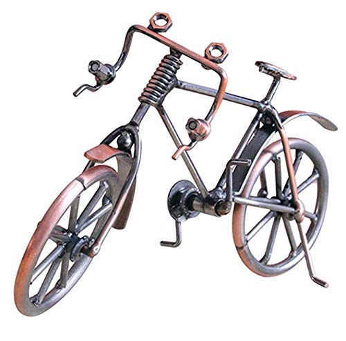 Fancinate Creative Hand Soldering Home Decor Cast Iron Wires Screws Statue/Figurine /Bicycle Bike Race Handicraft Works Handmade Metal Bike Model