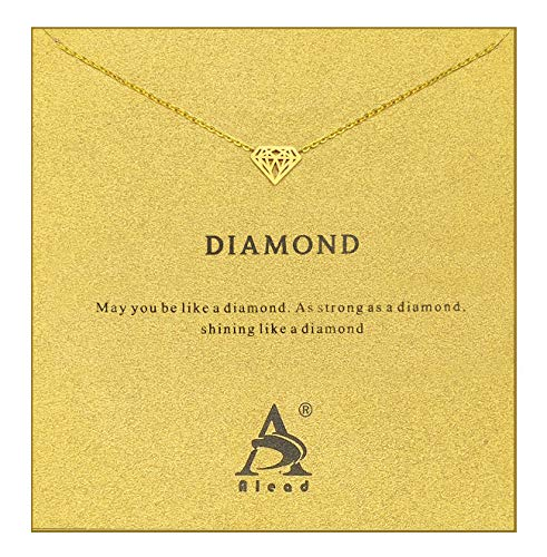 ALEAD Women Friendship Elephant Cactus Diamond Snowflake Butterfly Life Tree Luck Pendant Gift Clavicle Necklace with Message Gift Card for Elephant Cactus Diamond Snowflake Fan (Diamond-Gold)