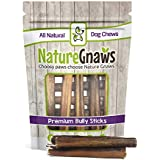 Nature Gnaws Large Bully Sticks 5-6 inch (15 Pack) - 100% Natural Grass-Fed Beef Dog Chews