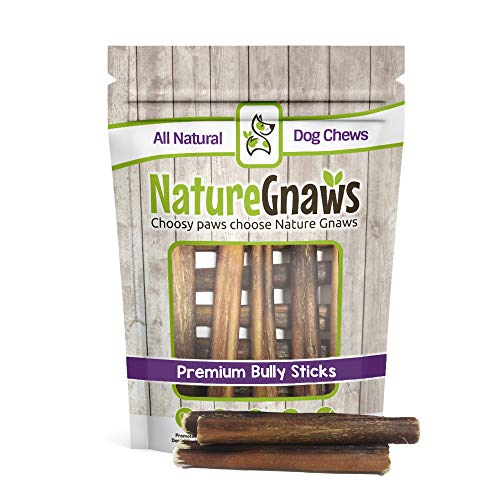 Nature Gnaws Large Bully Sticks 5-6″ (10 Pack) – 100% All Natural Grass-Fed Free-Range Premium Beef Dog Chews