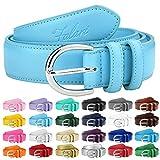 Falari Women Genuine Leather Belt Fashion Dress Belt With Single Prong Buckle 6028-LightBlue-XL