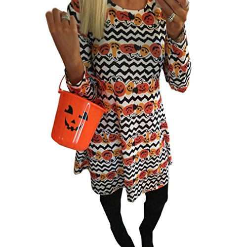 haoricu Women Dress, Women Halloween Pumpkin Skull Print Long Sleeve Party Swing Mini Dress (M, Black -