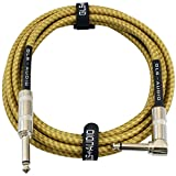 GLS Audio 10 Foot Guitar Instrument Cable - Right Angle 1/4 Inch TS to Straight 1/4 Inch TS 10 FT Brown Yellow Tweed Cloth Jacket - 10 Feet Pro Cord 10' Phono 6.3mm - SINGLE