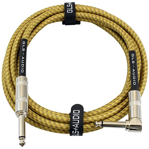 GLS Audio 10 Foot Guitar Instrument Cable - Right Angle 1/4 Inch TS to Straight 1/4 Inch TS 10 FT Brown Yellow Tweed Cloth Jacket - 10 Feet Pro Cord 10' Phono 6.3mm - SINGLE 1/4' Straight Angled Instrument Cable