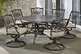 Hanover TRADDN7PCSWRD6 7-Piece Tan Six Swivel Rockers Traditions Dining Set with 60″ Round Cast-top Table Review
