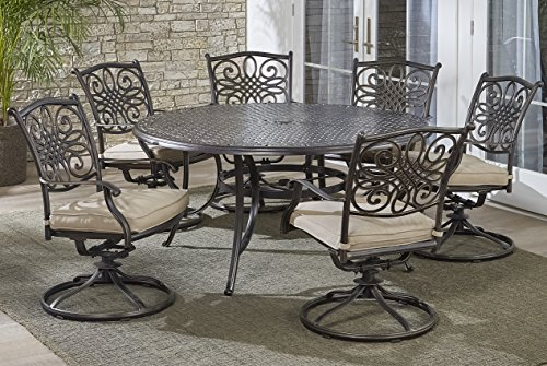Aluminum 7 Piece Patio - Hanover TRADDN7PCSWRD6 7-Piece Tan Six Swivel Rockers Traditions Dining Set with 60