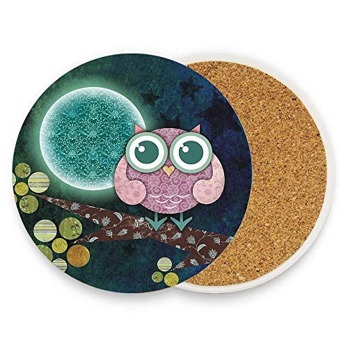 Coasters for Drinks Absorbent Stone Coaster,Ceramic Coasters Coffee Mug Place Mats with Cork Base - Midnight Owl (Cork Owl Placemat)