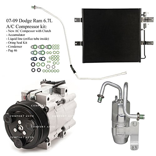 2007 2008 2009 Dodge Ram 2500 3500 6.7L Diesel New A/C AC Compressor kit with Condenser 1 Year Warranty