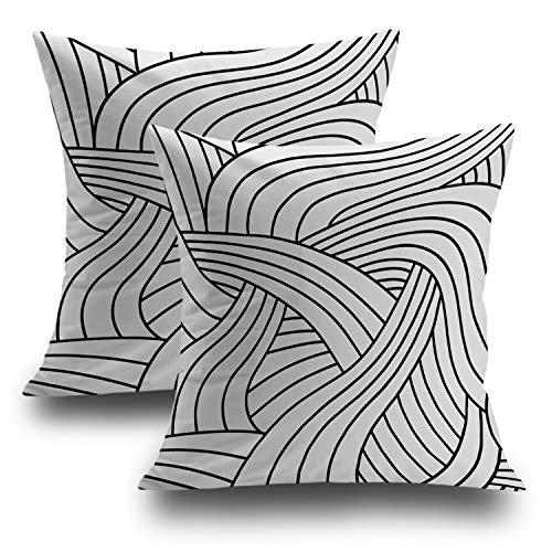 Shrahala Fashion Retro Decorative Pillow Covers 18x18 Set of 2, Art Deco Pattern Black and White Cushion Case for Sofa Bedroom Car Throw Pillow Covers Cushion Cover 45cm x 45cm Art Deco Set Sofa