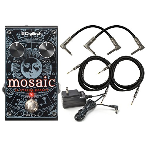 Digitech Mosaic Polyphonic 12 Strings Guitar Effect Pedal for Electric and Acoustic electric guitars with ac power adapter 2 Path Cables for guitars and 2 instrument cable