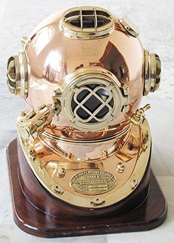 Nautical Solid Shiny Brass & Copper Divers Diving Helmet Us Navy Mark V Helmet (Nautical Diving Helmet)