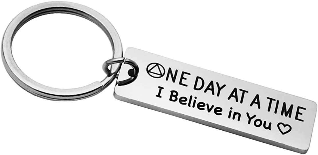 Meibai Sobriety Gift for Men Women One Day at a Time Engraved Jewelry Addiction Recovery Gifts