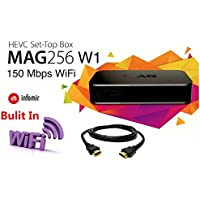 MAG 256 W1 IPTV SET TOP BOX Multimedia Player IPTV (HEVC H.265) With Built-In Wi-Fi & HDMI Cable (much faster than MAG 254)