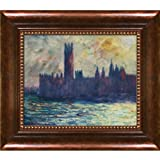 overstockArt Monet London Houses of Parliament Artwork with Verona Cafe Coffee Brown Patina Finish