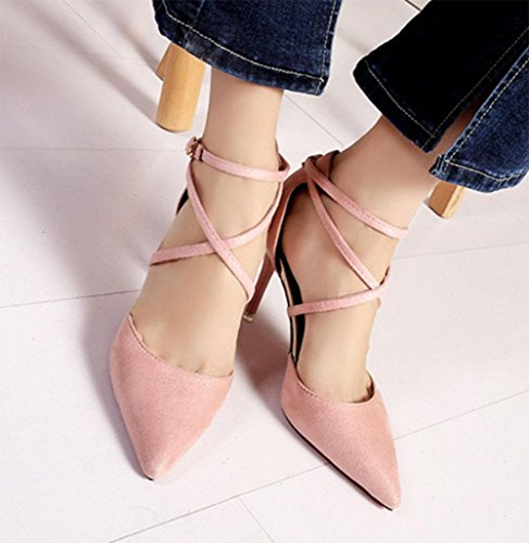MEILI Stiletto Heels Tip Hollow Shoes Mujer Sandalias pink