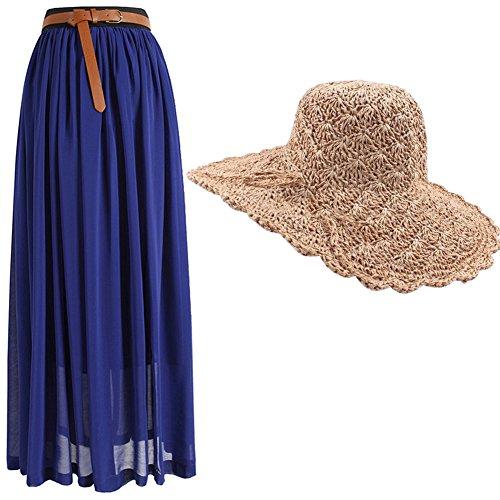 Women's Long Chiffon Pleated Maxi Boho Summer Beach Skirt Dress With Straw Sun Hat