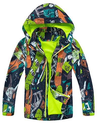 Echinodon Outdoorjas voor kinderen, gevoerde overgangsjas voor jongens en meisjes, waterafstotend, winddicht…