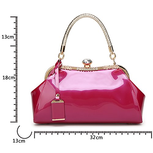 Leather Simple Tisdaini Fashion Women's Rose Diamond Red Patent Messenger New Bag Shoulder Handbag twYIw