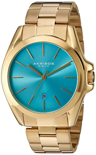 Akribos XXIV Unisex Gold Tone Case on Stainless Steel Gold Bracelet and Turquoise Dial with Gold Tone Hands Watch AK948YGTQ