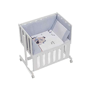 Minicuna Minana Colecho con Textil Friends Baby Azul: Amazon ...