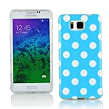 Kit Me Out CAN TPU Gel Case for Samsung Galaxy Alpha G850F - Blue / White Polka Dots