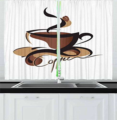 Coffee Kitchen Curtains by Ambesonne, Coffee Cup with Abstract Curved Lines Refreshing Aromatic Drink Pattern, Window Drapes 2 Panel Set for Kitchen Cafe, 55 W X 39 L Inches, Black Brown Sand Brown