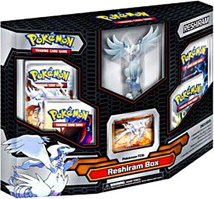 Pokemon Black White Card Game RESHIRAM Box 4 Booster Packs, 1 Holo Promo Card 1 Legendary Figure