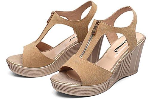 Kvinna Läder Gladiator Plattform Hög Klack Kilar Dragkedja Avslappnad Sandaler Plus Size Beige