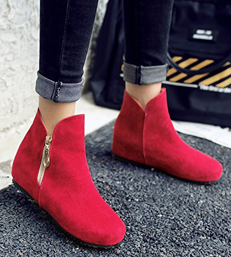IDIFU Womens Sweet Round Toe Low Wedge Heels Hidden Side Zip Up Ankle Boots Booties Red wIkAVK9Ll