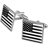 Graphics and More Subdued American USA Flag Black White Military Tactical Square Cufflink Set - Silver or Gold