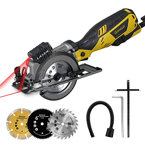 Ginour Circular Saw with Metal Handle, Laser Guide, 5.8A, Ideal for Wood, Soft Metal, Tile and Plastic Cuts