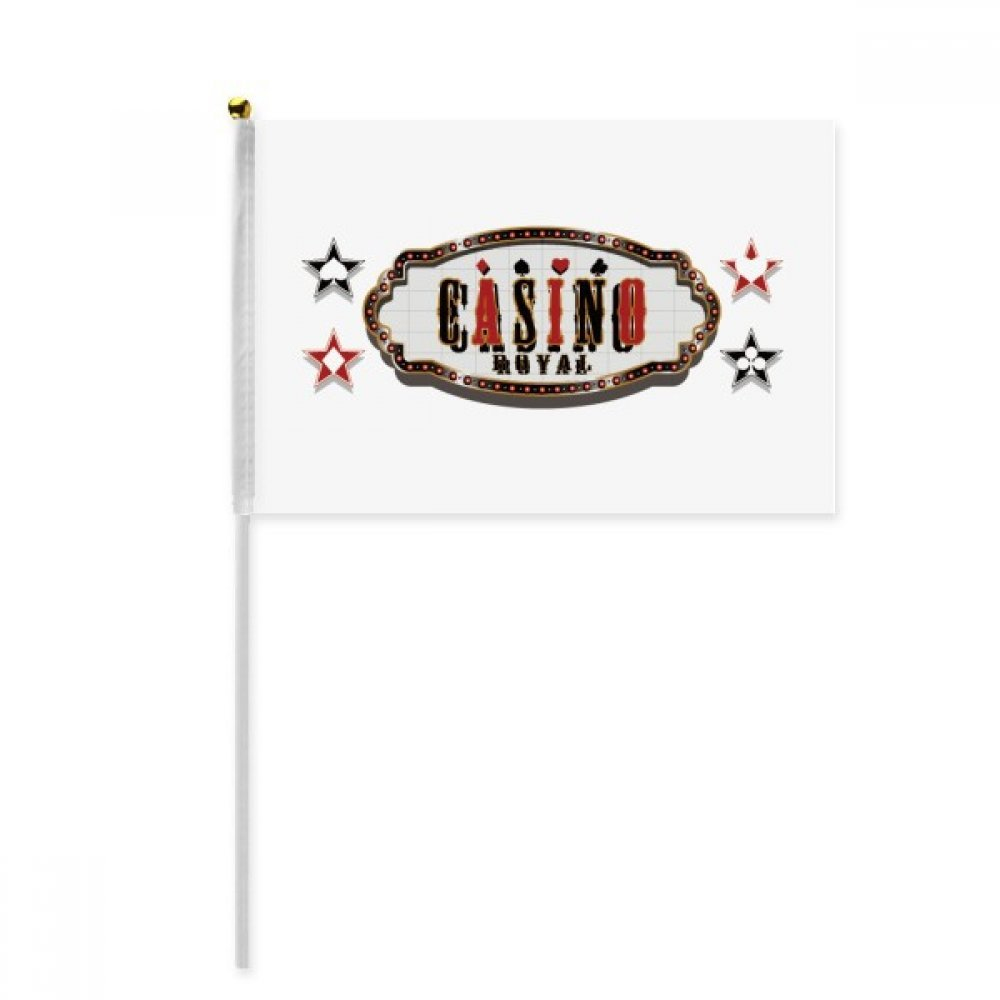 Black Red Casino Signboard Pattern Hand Waving Flag 8x5 inch Polyester Sport Event Procession Parade 4pcs