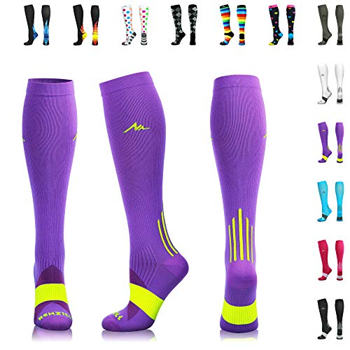 - NEWZILL Compression Socks (20-30mmHg) for Men & Women - Best Stockings for Running, Medical, Athletic, Edema, Diabetic, Varicose Veins, Travel, Pregnancy, Shin Splints. (Purple, Medium)