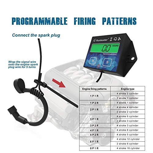 Runleader Backlight Hour Meter Tachometer Maintenance Reminder User Shutdown,Use for Lawn Mower Tractor Generator Marine Outboard ATV Motor Snowmobile and Gas Powered Equipment Battery Replaceable
