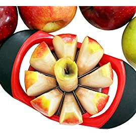 Dynamic Chef Apple Slicer - Stainless Steel Apple Corer - up to 3.5 Inch Apples - 8 Slices - Comfortable Sturdy Rubber Grips 30 ★ HOW WE'RE DIFFERENT: Your apple doesn't stand a chance against this guy. Dynamic Chef brand stainless steel apple slicer / corer is built to last. Comfortable, sharp and sturdy. Much more comfortable than other brands. ★ THE PERFECT HOLIDAY GIFT: The perfect holiday gift, Christmas gift, Hanukkah, Black Friday, Cyber Monday and New Years! Extra thick 100% restaurant quality stainless steel, ergonomic rubber grips will slice and cores apples up to 3 ½ inches wide, consistently every time! Remove the core and slice 8 perfect slices for dipping, baking, and more. ★ CUSTOMER CARE PROMISE: Lifestyle Dynamics offers complete customer satisfaction, period. Our reviews speak for themselves. If for any reason you are not absolutely happy with your slicer we will replace or refund your order, no questions asked. CONTACT US directly and we will take care of you. We love to help!