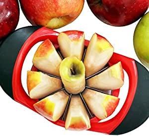 Dynamic Chef Apple Slicer - Stainless Steel Apple Corer - up to 3.5 Inch Apples - 8 Slices - Comfortable Sturdy Rubber Grips