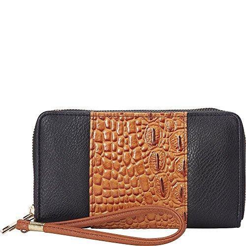rebecca-rifka-faux-leather-croco-panel-double-zip-wallet-black-cognac