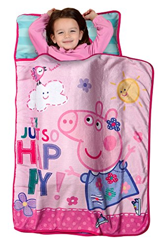 Peppa Pig I'm Just So Happy Toddler Nap Mat - Includes Pillow and Fleece Blanket - Great for Boys and Girls Napping at Daycare, Preschool, Or Kindergarten - Fits Sleeping Toddlers and Young Children