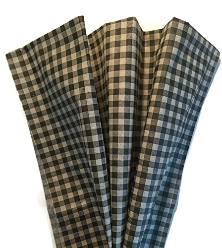 Printed Tissue Paper for Gift Wrapping with Design (Tan and Black Gingham), 24 Large Sheets (20x30)